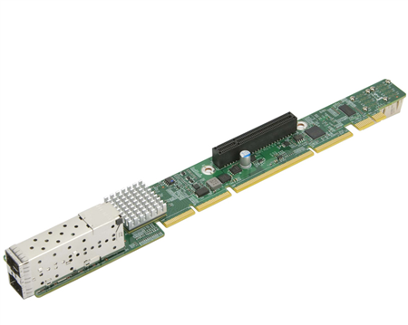 1U Ultra Riser with 2 10G SFP+ and 2 NVMe ports, Intel 82599ES (For Integration Only)
